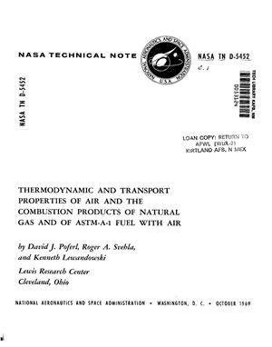 Poferl D.J. Thermodynamic and transport properties of air and the combustion products of natural gas and of ASTM-A-1 fuel with air