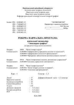 Рабочая программа учебной дисциплины Инженерная графика