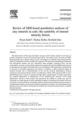 Kahle M., Kleber M., Jahn R. Review of XRD-based quantitative analyses of clay minerals in soils: the suitability of mineral intensity factors
