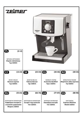 Кофеварка‐экспрессо с высоким давлением Модель 13Z015. Инструкция по эксплуатации