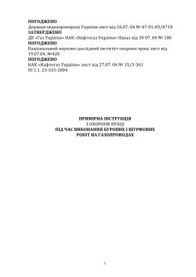 Примірна інструкція з охорони праці під час виконання бурових і шурфових робіт на газопроводах