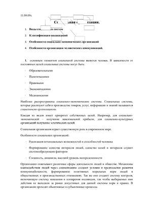 Лекция - Социальная организация