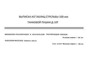 Выписка из таблиц стрельбы 100-мм танковой пушки Д-10Т