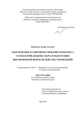 Ишкинеев Д.А. Обоснование и совершенствование комплекса технологий добычи, сбора и подготовки высоковязкой нефти мелких месторождений