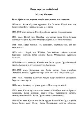 Мағауин Мұхтар. Қазақ тарихының Әліппесі