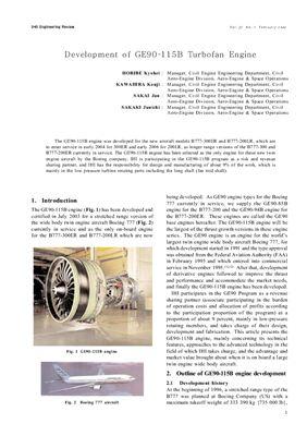 GE90 engine. Kyohe Horibe, Kouji Kawahira, Jun Sakai Development of GE90-115B turbofan engine