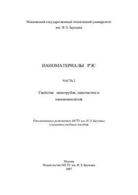 Малышев К.В. и др. Наноматериалы РЭС. Часть 2: Свойства нанотрубок, наночастиц и нанокомпозитов