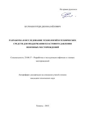 Булчаев Н.Д. Разработка и исследование технологий и технических средств для поддержания пластового давления нефтяных месторождений