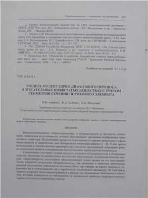 Анипко О.Б., Матузаев К.Б., Хайков В.Л. Модель молекулярно-диффузного переноса в метательных взрывчатых веществах с учетом геометрии сечения порохового элемента