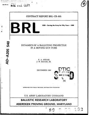 Ansari K.A., Baugh J.W.Jr. Dynamics of a Balloting Projectile in a Moving Gun Tube. / Динамика поперечного движения артиллерийского снаряда в орудийном стволе