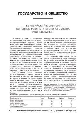Мониторинг общественного мнения: экономические и социальные перемены 2004 №04 (72)