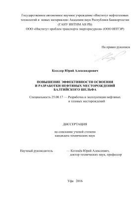 Кесслер Ю.А. Повышение эффективности освоения и разработки нефтяных месторождений Балтийского шельфа