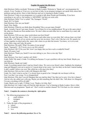 Олимпиада по английскому языку для школьников 8 класс