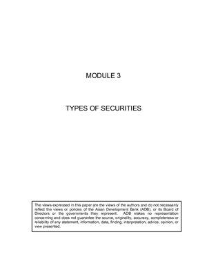 Методическое пособие для финансистов. Types of Securities