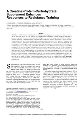 Paul J. Cribb, Andrew D. Williams and Alan Hayes. A creatin-protein-carbohydrate supplement enchances response to resistance training