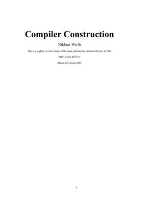 Wirth Nicklaus. Compiler Construction