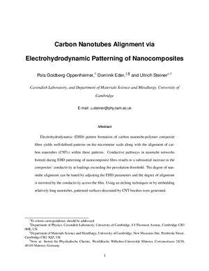 Goldberg-Oppenheimer P., Eder D., Steiner U., Carbon Nanotubes Alignment via Electrohydrodynamic Patterning of Nanocomposites