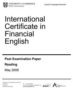 Издательство UCLES/Cambridge ESOL - ICFE past examination paper 2008 (экземпляр экзамена финансовый английский)