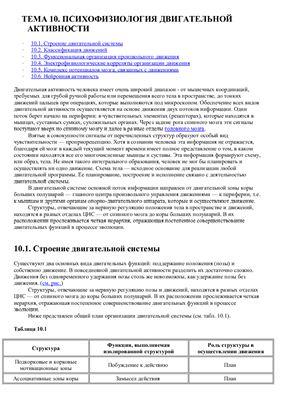 Лекция №10 Психофизиология двигательной активности