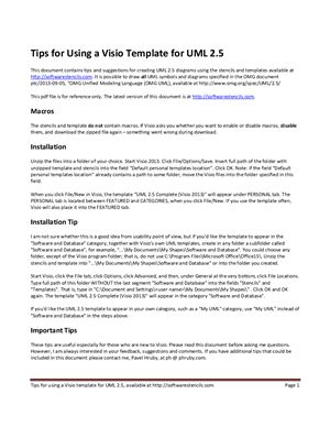Шаблон UML версии 2.5 для MS Visio 2013