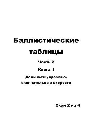 Таблицы баллистические. Часть 2. Книга 1. Дальности, времена, окончательные скорости. 2/4