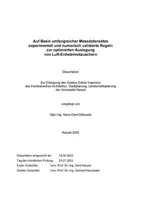 Dibowski, H.-G. Auf Basis umfangreicher Messdatensatze experimentell und numerisch validierte Regeln zur optimierten Auslegung von Luft-Erdwarmetauschern