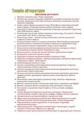 Білети - Перелік питань до іспиту з курсу Теорія літератури