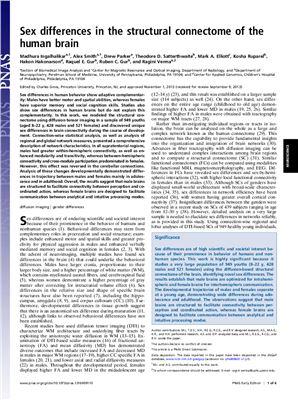 Ingalhalikara M., Smith A., Parker D., Satterthwaite T.D., Elliott M.A., Ruparel K., Hakonarson H., Gur R.E., Gur R.C., Verma R. Sex differences in the structural connectome of the human brain