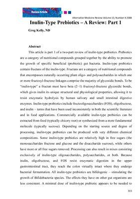Inulin-Type Prebiotics: A Review. Статья для кандидатского экзамена по английскому языку