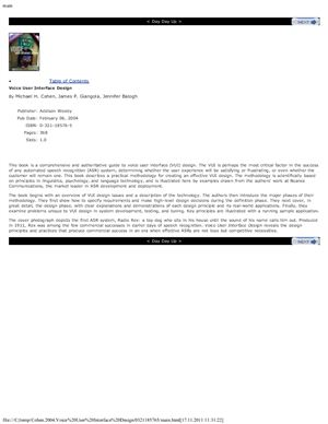 Cohen M.H., Giangola J.P., Balogh J. Voice User Interface Design