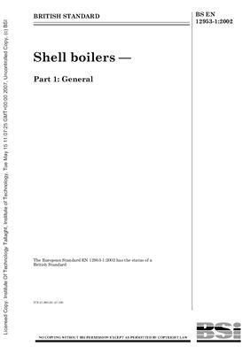 BS EN 12953-1: 2002 Shell boilers - Part 1 - General