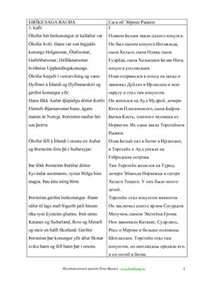 Eiriks Saga Rauda / Сага об Эйрике Рыжем (на русском и исландском языках. Проект И.Франка)