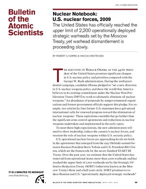Nuclear Notebook: U.S. nuclear forces, 2009