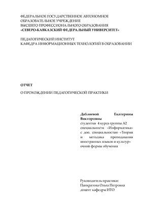 Отчет по пассивной педагогической практике (информатика)