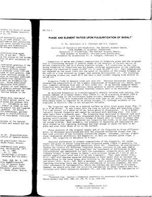 Ablesimov N.Ye. et al. Phase and Element Ratios upon Fulguritization of Basalt