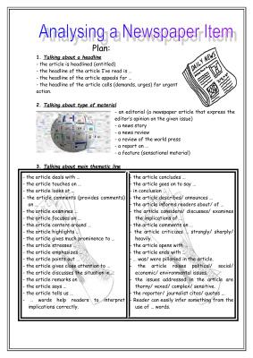 Анализирование газетной статьи на английском языке