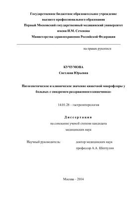 Кучумова С.Ю. Патогенетическое и клиническое значение кишечной микрофлоры у больных с синдромом раздраженного кишечника