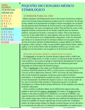 Cortés F.G. Pequeño diccionario médico etimológico