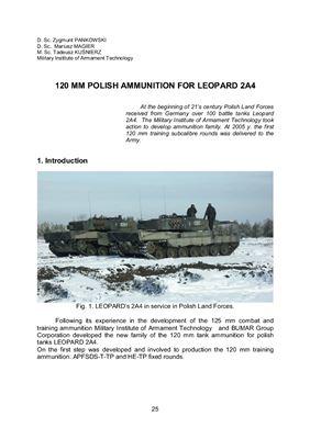 Pankowski Zygmunt, Magier Mariusz, Kuśnierz Tadeusz. 120 mm polish ammunition for Leopard 2A4