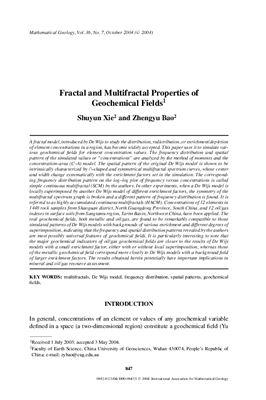 Xie S., Bao Z. Fractal and Multifractal Properties of Geochemical Fields