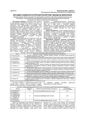 Федчишина В.В. Методика судово-бухгалтерської експертизи підходи до визначення