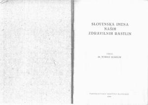 Karlin M. Slovenska imena naših zdravilnih rastlin