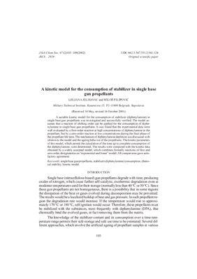 Jelisavac Ljiljana, Filipović Miloš. Kinetic model for the consumption of stabilizer in single base gun propellants