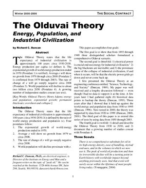 Duncan Richard C. The Olduvai theory. Energy, population, and Industrial civilization