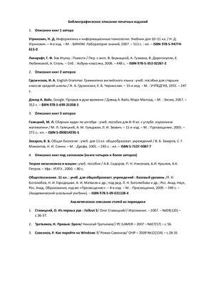 Пример библиографического описания