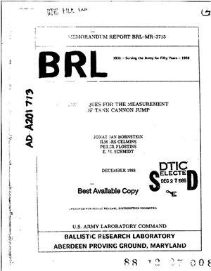 Bornstein J., Celmins I., Plostins P., Schmidt E. Techniques for the measurement of tank cannon jump. Методы измерения прыжков танковой пушки