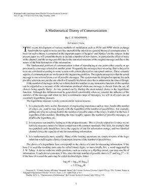 Shannon C.E. A Mathematical Theory of Communication