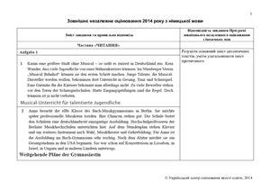 Відповіді ЗНО-2014 з німецької мови