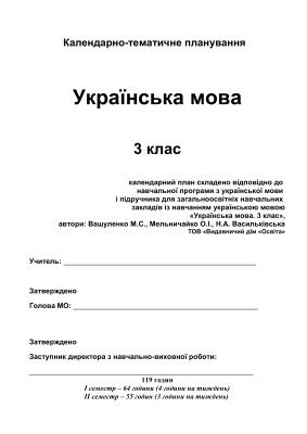 Календарно-тематичне планування. Українська мова. 3 клас (Нова програма)