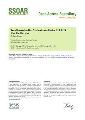 Test-Retest-Studie - Methodenstudie des ALLBUS: Abschlußbericht
